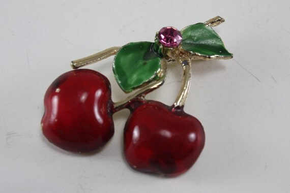 Vintage Red Cherry Pin With Pink Rhinestone Accent