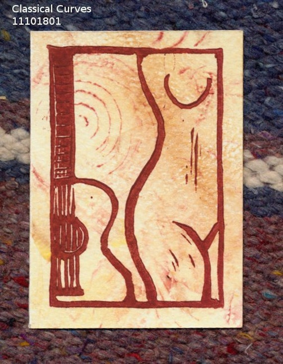 Classical Guitar and Nude original relief linocut and gelatin print aceo 11101801