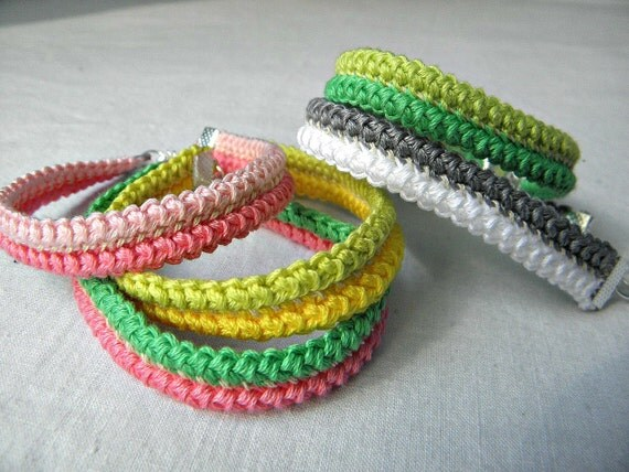 Crochet bracelet - You pick the color