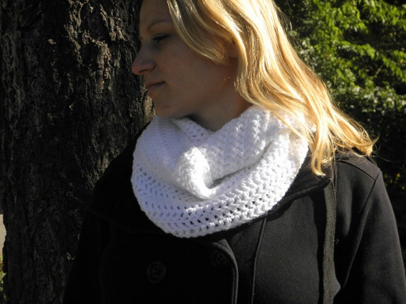 Cowl neck Scarf Acrylic warmer soft white