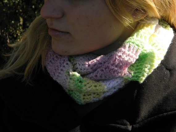 Cowl neck Scarf Acrylic and Polyamide warmer pink green white yellow