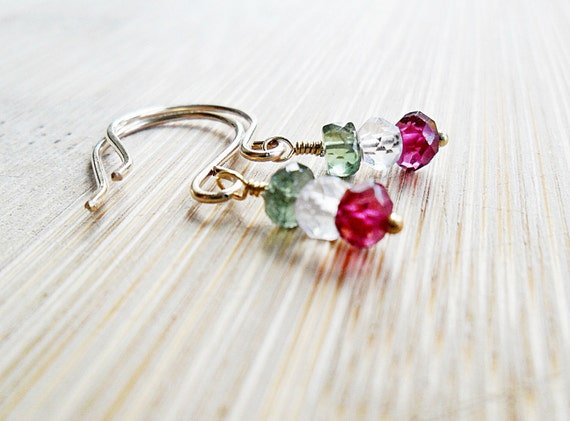 Christmas Earrings, Green Peridot White Sapphire and Red Garnet 14K Gold Fill Holiday Gemstones, Christmas Jewelry, Xmas Jewelry