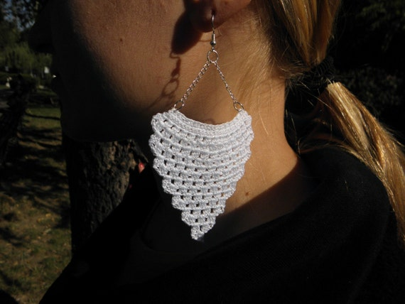White crochet lace earrings