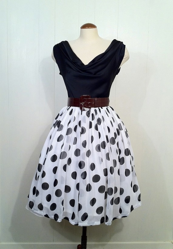 Vintage 1950s Reproduction Polka Dot Chiffon Swing Dress Medium Size