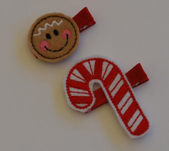 Christmas Hair Clip Set Gingerbread and Candycane