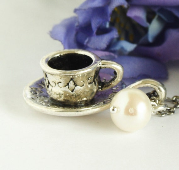 Silver Tea Cup Necklace With Ivory Pearl , Alice in Wonderland - No Shipping Charges