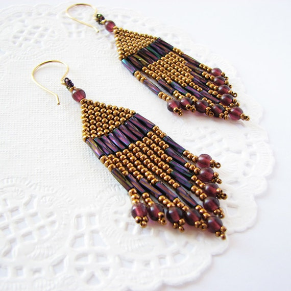 seed bead beadwoven earrings in bronze and purple