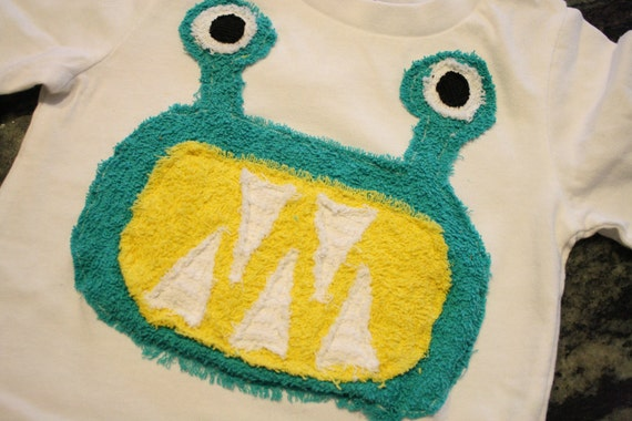 READY TO SHIP...6-12 mo Boys Monster Tee...