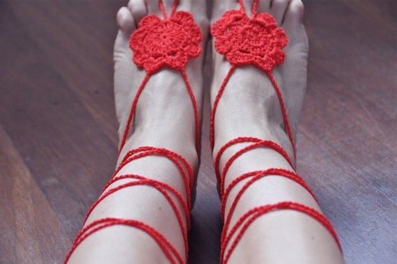 Crochet Barefoot Cotton Sandals ,Flower, Feet, Summer, Beach, Pool, Yoga, Lightweight