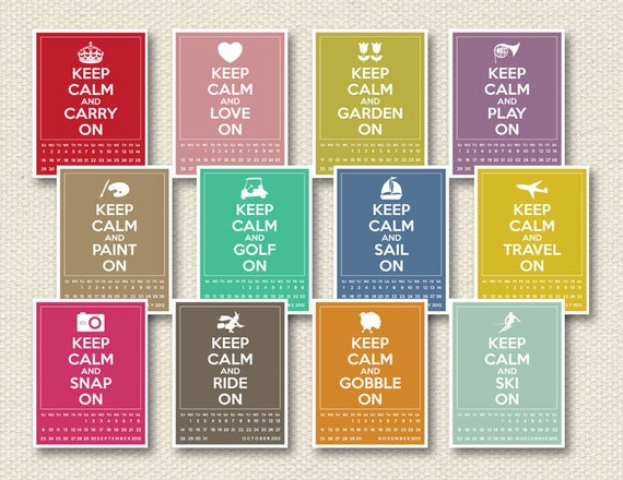 SALE - DIY printable 2012 calendar - keep calm and carry on