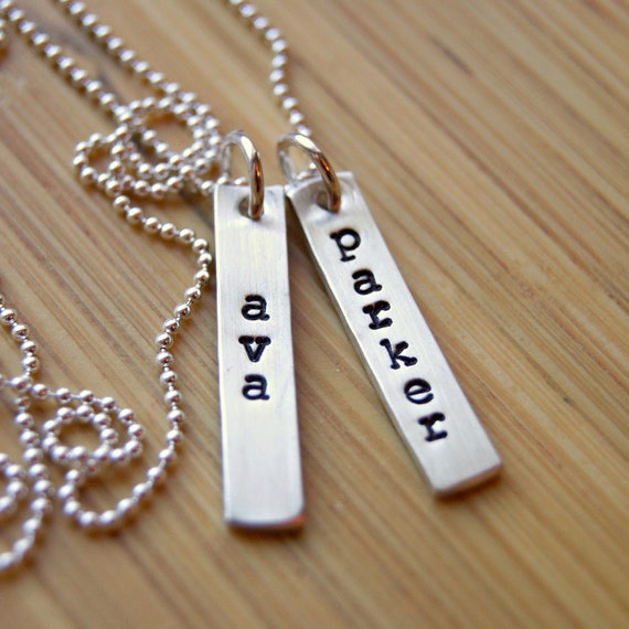 Hand Stamped Mommy Necklace with Sterling Silver Bars and Children's Names, Personalized