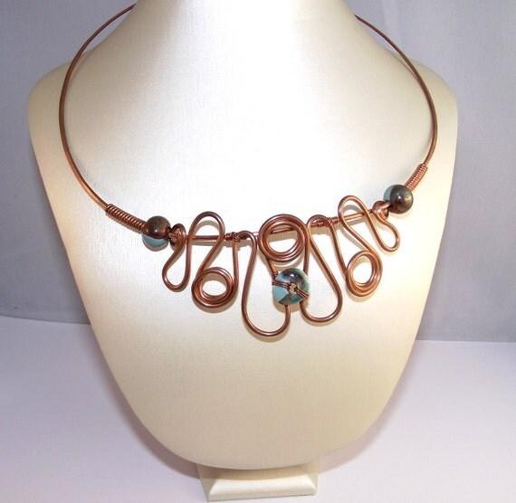 20% SALE-------Copper Greek Style Necklace- Earth Trio