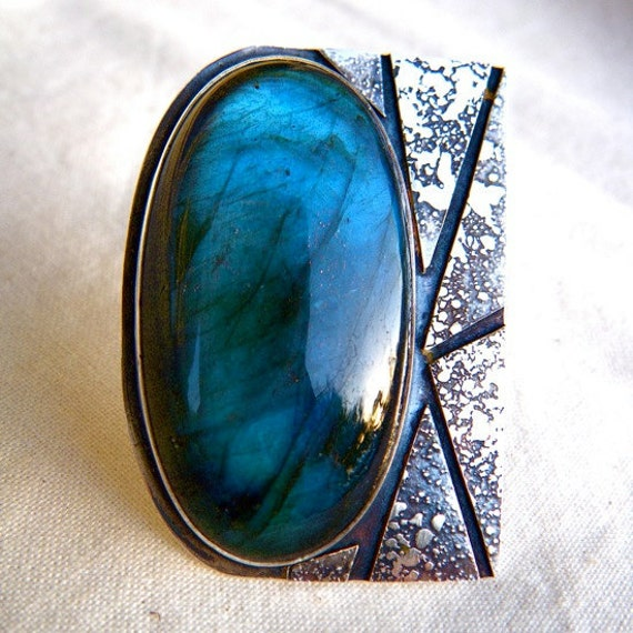 Aurora Borealis Ring with Labradorite and Silver by Cari-Jane Hakes, Hybrid Handmade