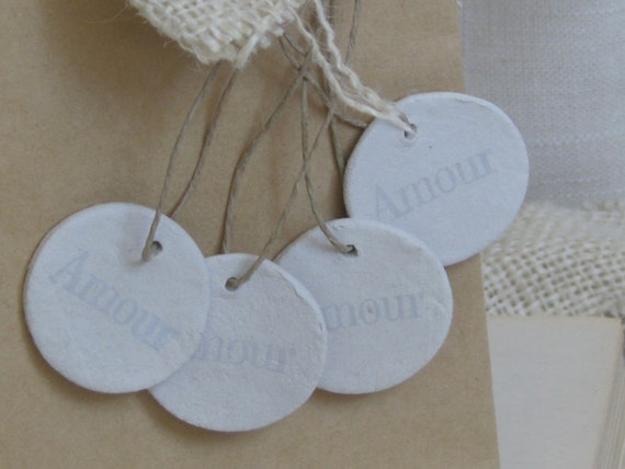 Hand stamped AMOUR Clay Tags, Gift Tags, Place Cards, Favors