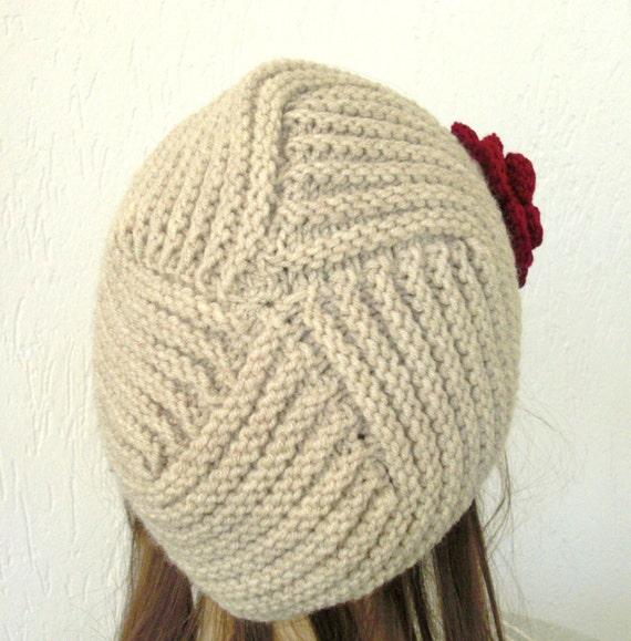 دست گره Cloche کلاه در کلاه لوازم جانبی زمستان بژ با قلاب دوزی گل قرمز بارش برف گرم از کریسمس - پاییز پاییز بلغور جو دوسر
