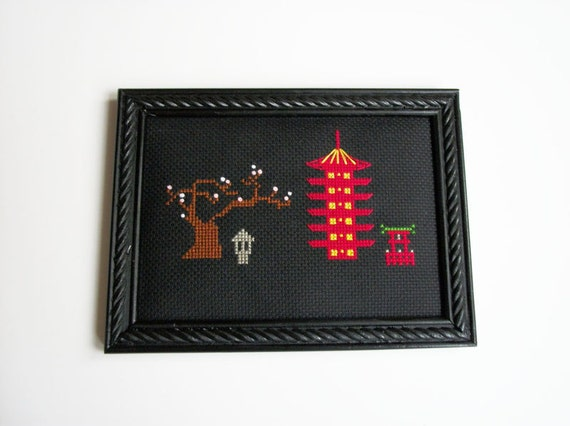 Asian pagoda scene framed cross stitch