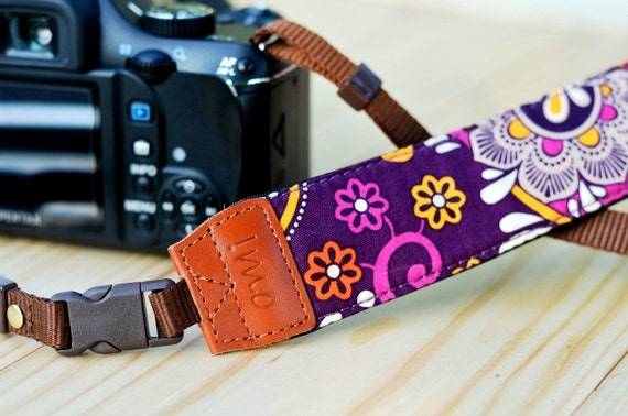 Purple Damask Camera Strap for DSLR / SLR Quick Release