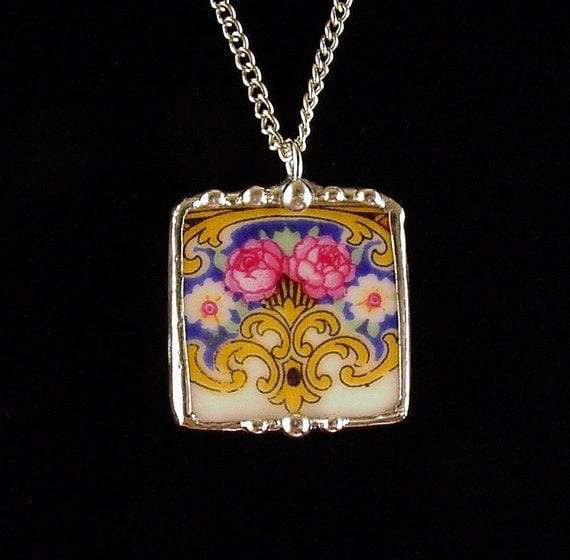 Broken china jewelry pendant necklace rose porcelain square antique china