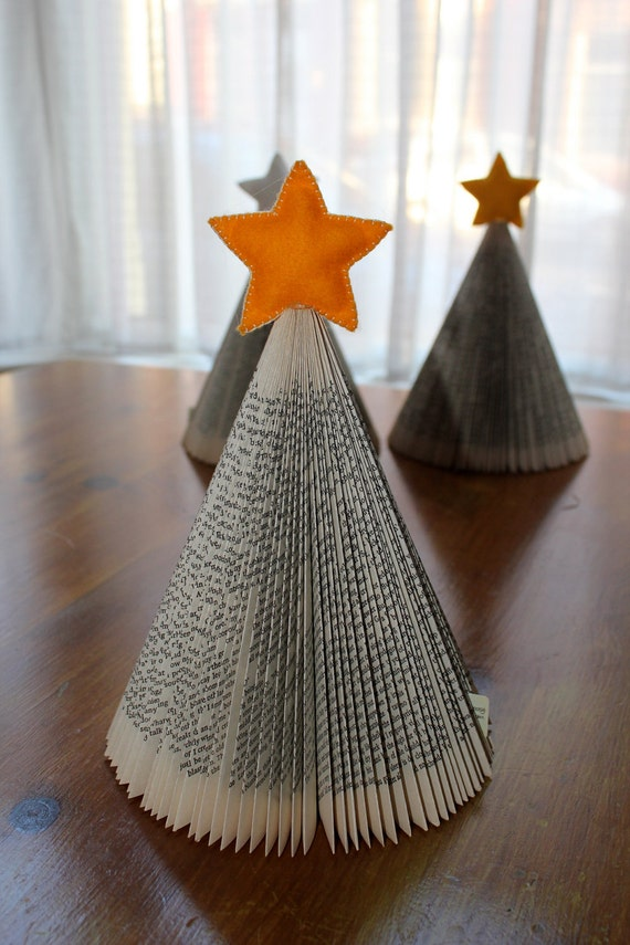 Christmas Tree - Folded Upcycled Book with yellow felt star