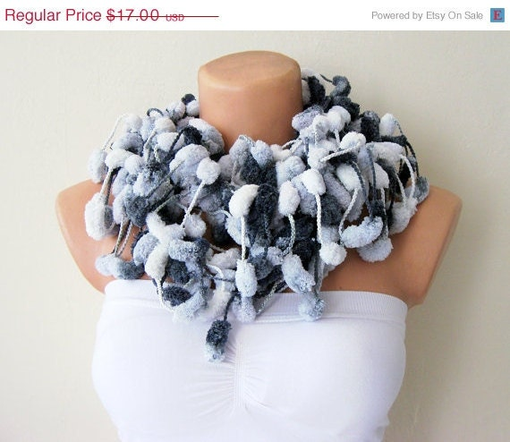 ON SALE White Grey Smoky Cute Pom Pom Mulberry Handmade Scarf