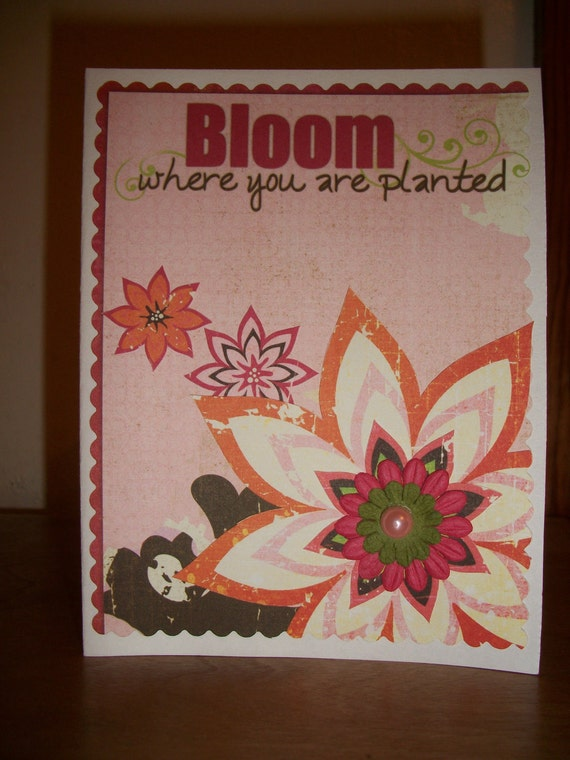 Pink & Orange Flower Card