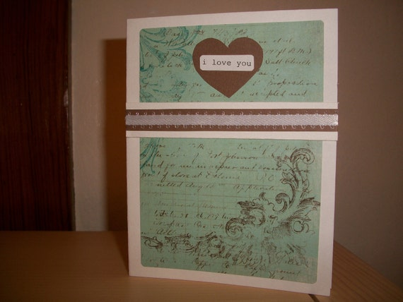 "Blue & Brown ""I Love You"" card."
