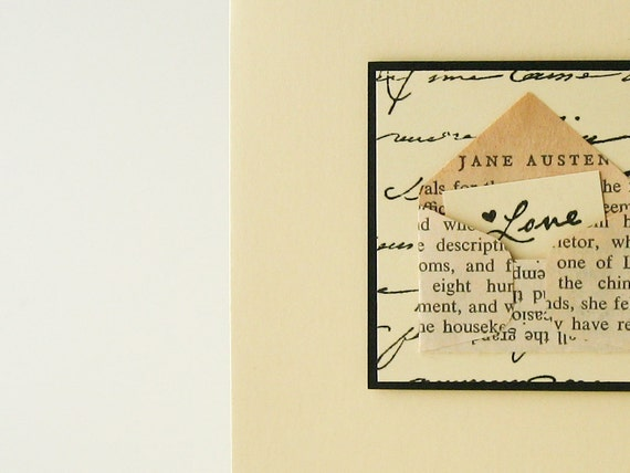 Jane Austen Love Letter Handmade Valentine Card