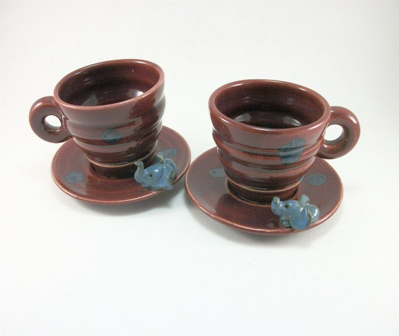 small cups and saucer set for kids or espresso with elephants