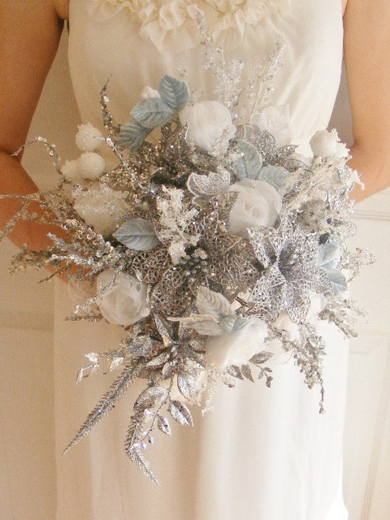 WHITE BRIDE Wedding Bridal  bouquet (large) OOAK