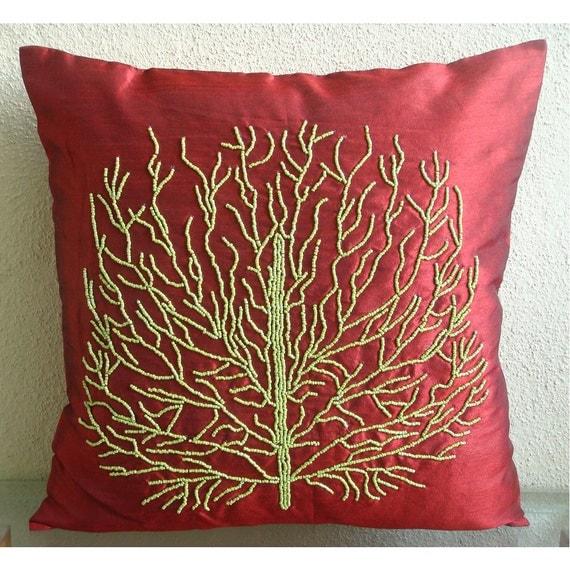 Tree Of Joy - Бросьте наволочки - 16х16 дюймов Шелковый Чехол с вышивкой из бисера