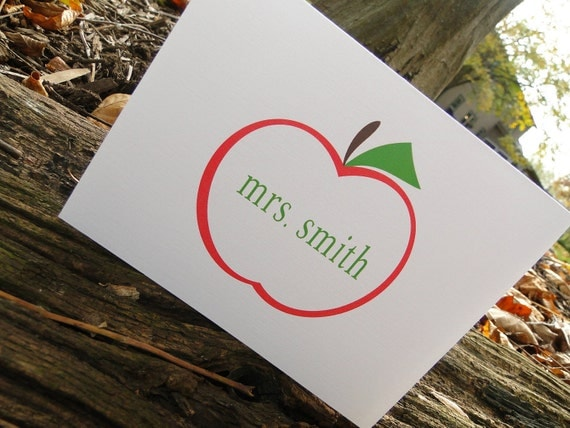 Custom Red Apple Teacher Note cards (set of 10)