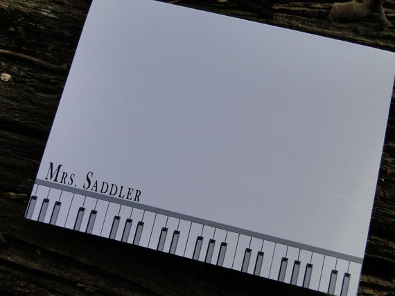 Custom Piano Keys Note Cards (set of 10)