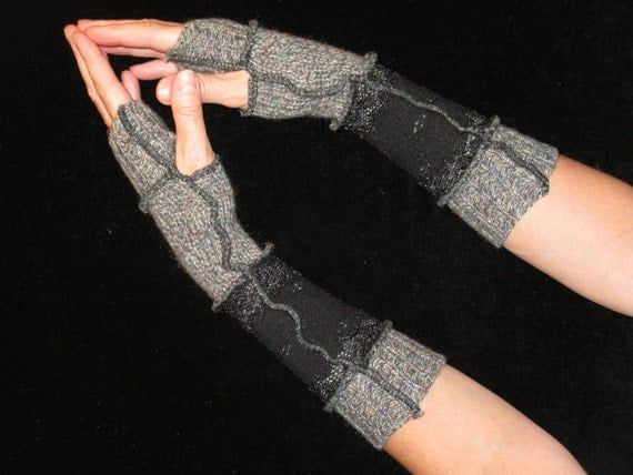OOAK Eco Recycled Sweater Fingerless Arm Warmers