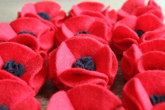 Poppy Brooch Large Gorgeous Red Black Felt Remembrance Day