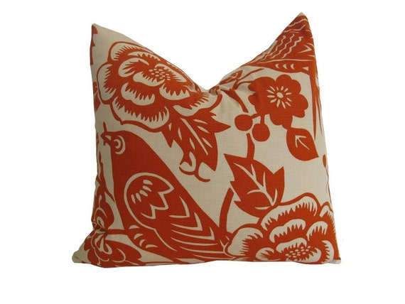 "Decorative Designer Pillow Cover-Thomas Paul Aviary in Tangerine-16""x16"""