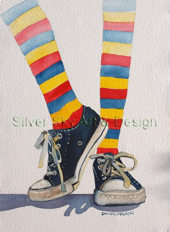 Striped Socks, Converse Shoes, Original Watercolor Painting