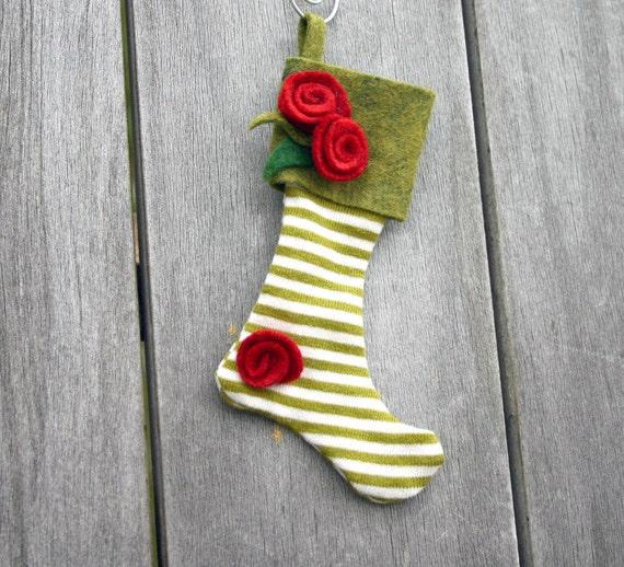 Striped Felt Stocking Ornament - Black Friday, Cyber Monday, Mossy Green, White Striped, Red Rosettes, Tag, Gift Wrap, Secret Santa