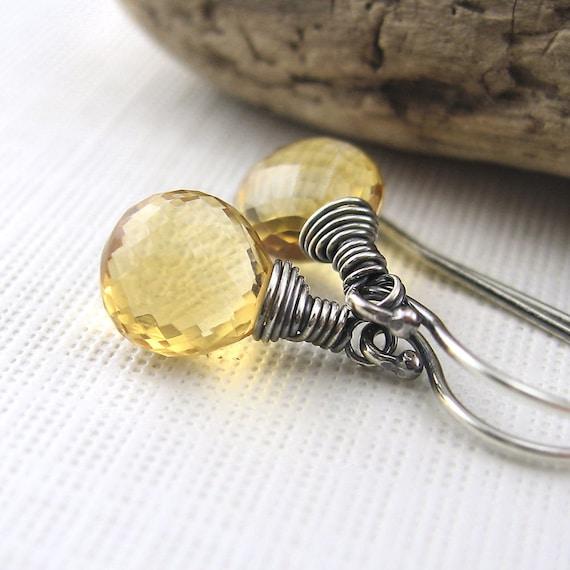 Citrine Earrings Sterling Silver November Birthday Birthstone Petite Drops Collection - Designer Fashion Jewelry - Jennifer Casady