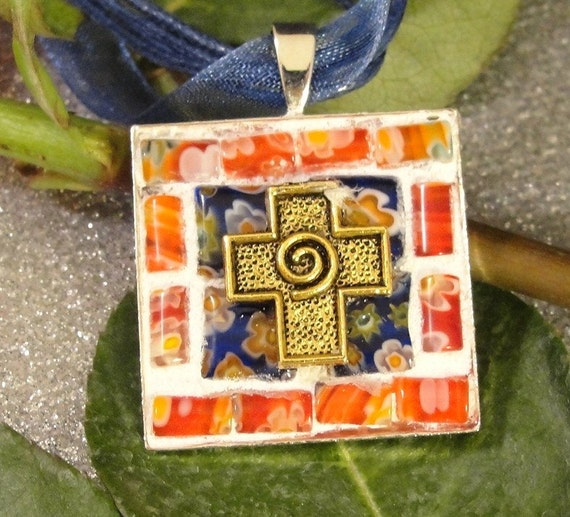 Mosaic Cross Necklace Pendant Millefiori Blue Red Gold