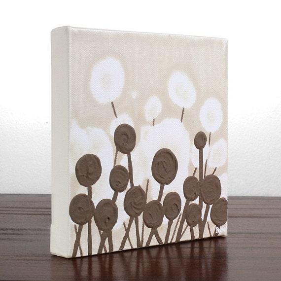 Мини холсте - Оригинальная картина Акриловые цветов - коричневый и хаки Минималистский Искусство - Коллега подарков