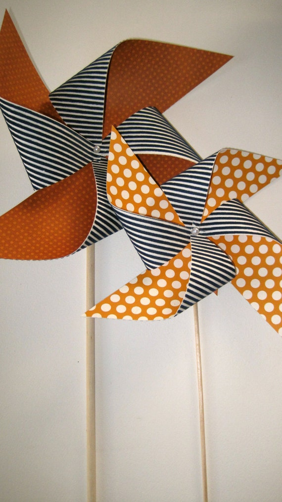 Sale Navy and Orange Modern 12 Piece Pinwheel Set Ready-Made by Rule42