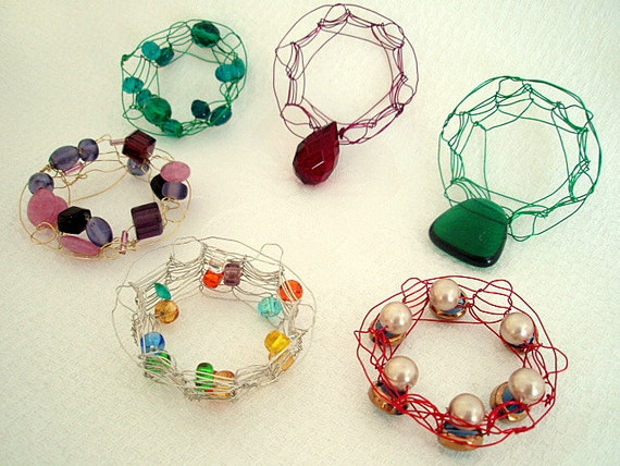 Wholesale Crocheted Jewelry Knitted Wired Pendants Chainmaille 6 pieces Metal Art Project supplies Crafts Embellishments Ornaments