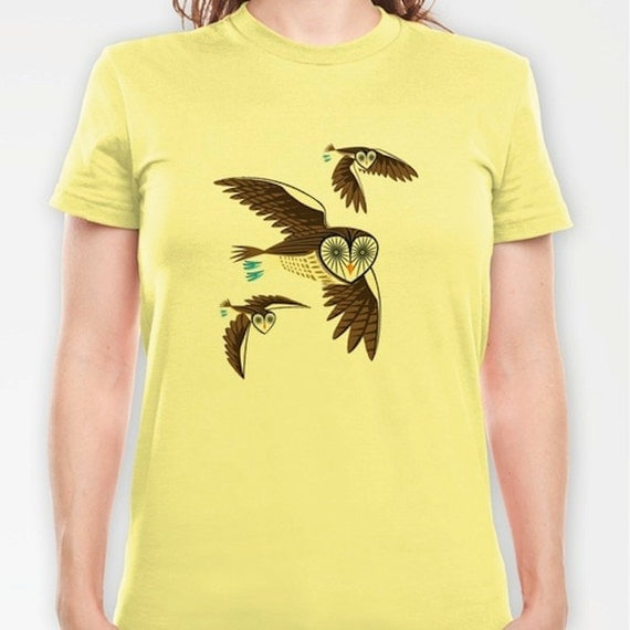 iOTA - Owls On the Prowl - Womens Fitted Owl T-shirt / Womens Owl Tee (S, M, L, X-L, 2X-L)