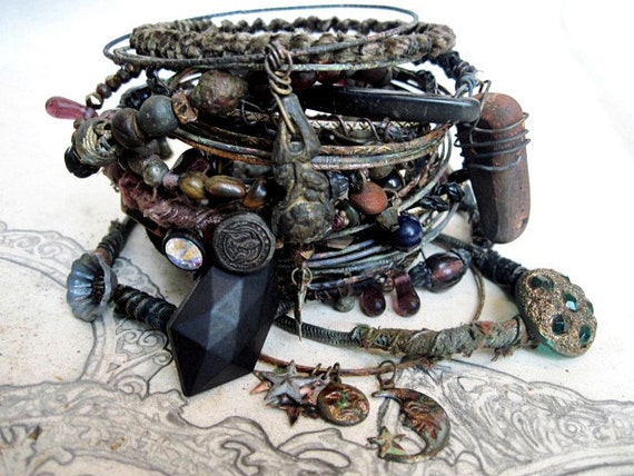 Philo-Sophia. Victorian Tribal Gypsy Assemblage Bangle Stack.