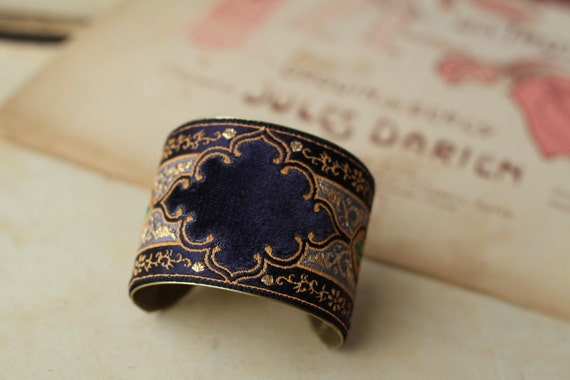 Artisan Antique French Silk Bracelet Cuff in Purple Velvet art deco style, embellished with Swarovski crystals
