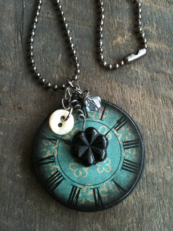 Wood Ephemera Tile Pendant Necklace - Clock