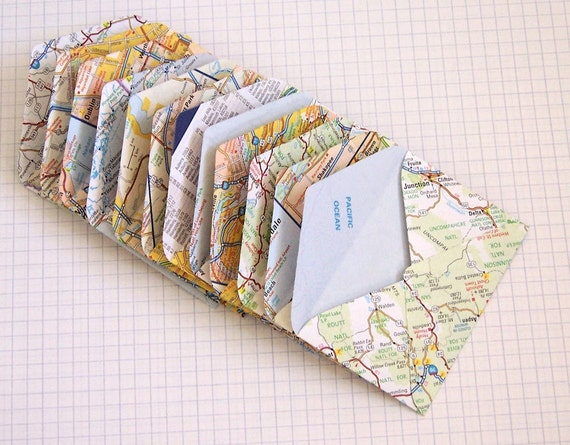 Upcycled US Map Mini Envelopes Set of 12