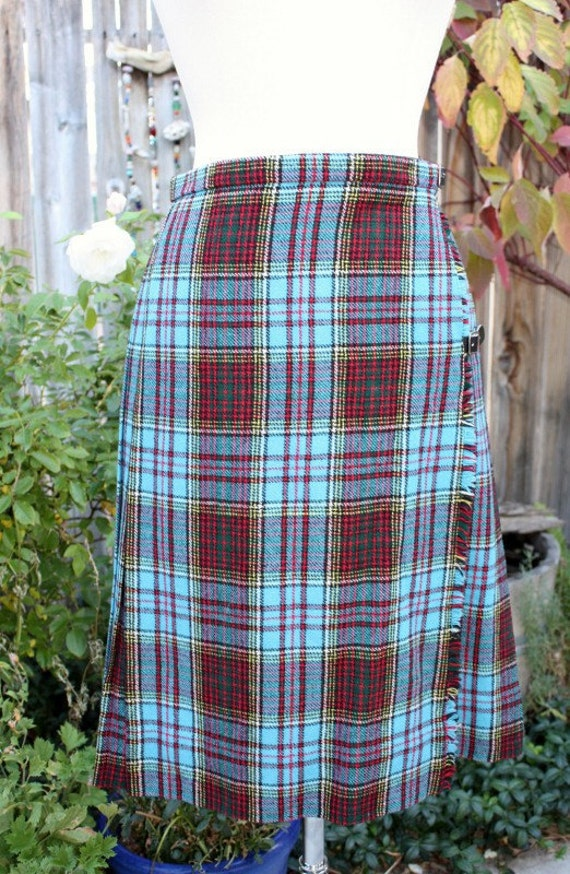 Blue Plaid Tartan Kilt Skirt Vintage Retro with Leather STraps By Moffat Weavers Size 14 Scotland Preppy Hipster Indie
