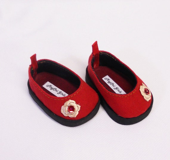 "American Girl  & 18"" Doll Shoes Holiday Theme - Slip-On Flats - Red  with Satin Rose and Sequins Trims"