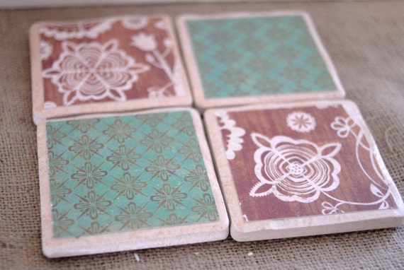Rustic and Farmhouse Chic Coaster Set in Brown and Teal